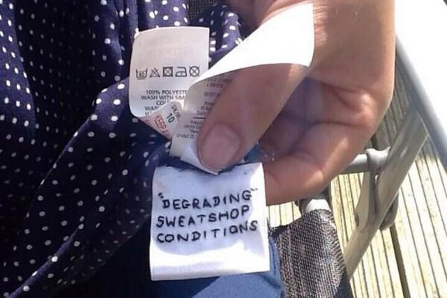 «Des conditions dégradantes dans des ateliers misérables (sweatshop)» ou encore... (PHOTO TIRÉE DE TWITTER)