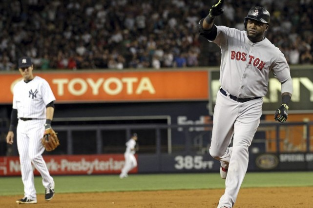David Ortiz a réussi une frappe de trois... (Photo Adam Hunger, USA TODAY Sports)