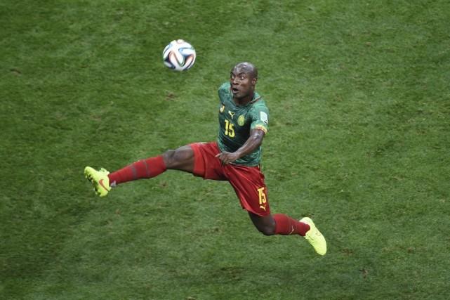 L'attaquant camerounais Pierre Achille Webo.... (PHOTO EVARISTO SA, AGENCE FRANCE-PRESSE)