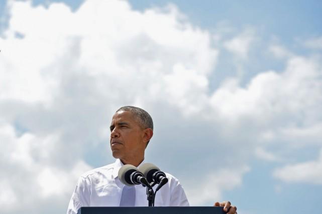 Le président Barack Obama alors qu'il prononce un... (PHOTO MANDEL NGAN, ARCHIVES AFP)