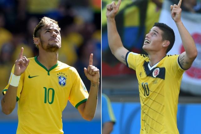 Neymar (Brésil) et James Rodriguez (Colombie).... (Photos AFP)