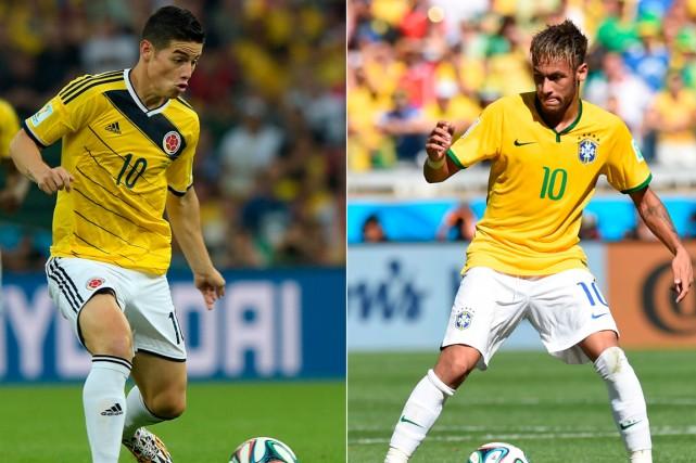 James Rodriguez et Neymar sont de superbes techniciens.... (Photos AFP)