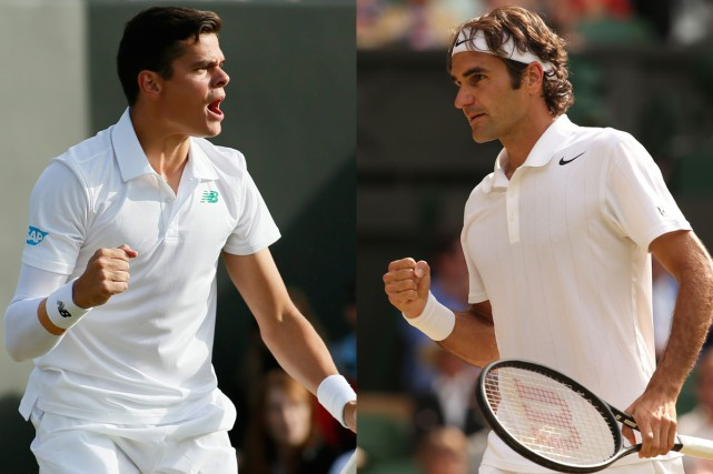 Milos Raonic et Roger Federer... (Photos: archives AP et AFP)