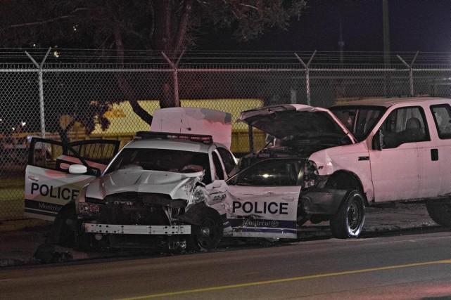 Deux policiers et deux adolescents se trouvaient dans... (PHOTO FÉLIX O.J. FOURNIER, COLLABORATION SPÉCIALE)