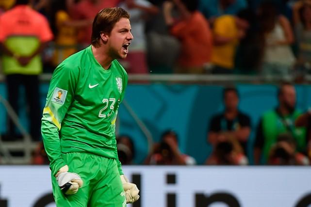 Le gardien néerlandais Tim Krul a été le... (Photo Damien Meyer, AFP)