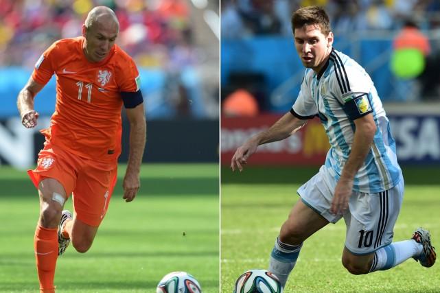 Le Néerlandais Arjen Robben et l'Argentin Lionel Messi,... (Photos AFP)