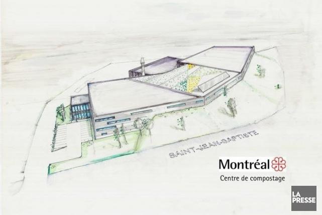 Le croquis du futur centre de compostage.... (IMAGE FOURNIE PAR LA VILLE DE MONTRÉAL)