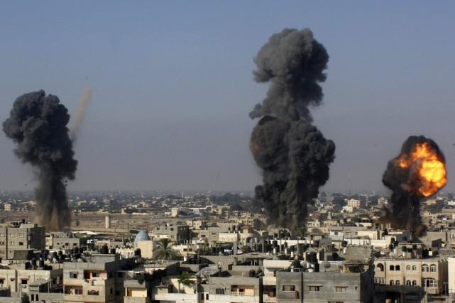 Au total, l'armée israélienne dit avoir ciblé «550... (Photo Hatem Ali, Associated Press)