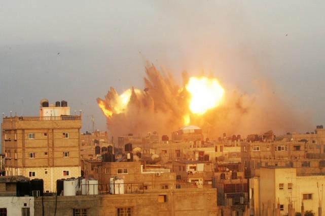Frappe israélienne sur Rafah, le 11 juillet.... (PHOTO SAID KHATIB, AFP)