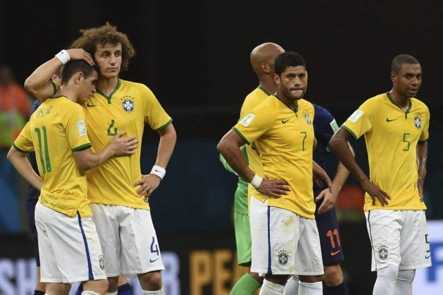 Oscar (11), David Luiz (4), Hulk (7) et... (PHOTO VANDERLEI ALMEIDA, AFP)