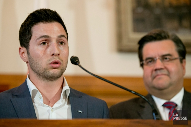 Le double champion olympique Alexandre Bilodeau et le... (Photo David Boily, La Presse)