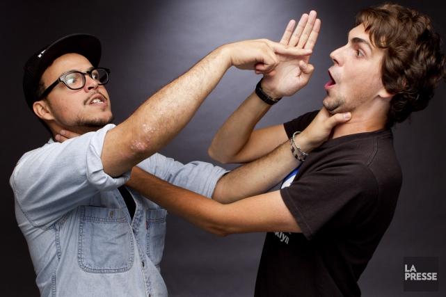 Ils s'appellent Mehdi Bousaidan et Jérémie Larouche. Deux humoristes aux styles... (Photo: Marco Campanozzi, La Presse)