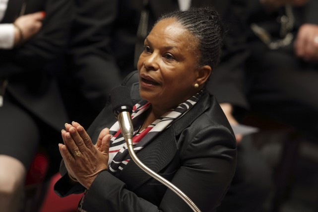 La ministre de la Justice d'origine guyanaise, Christiane... (Photo PHILIPPE WOJAZER, AFP)