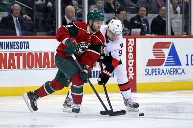 Le Wild du Minnesota a offert un nouveau contrat de deux ans à l'ailier gauche... (Photo Brace Hemmelgarn, USA Today Sports)