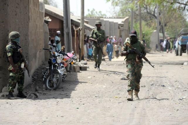 Un soldat patrouille un village dans l'état d'Adamawa,... (Archives AFP)