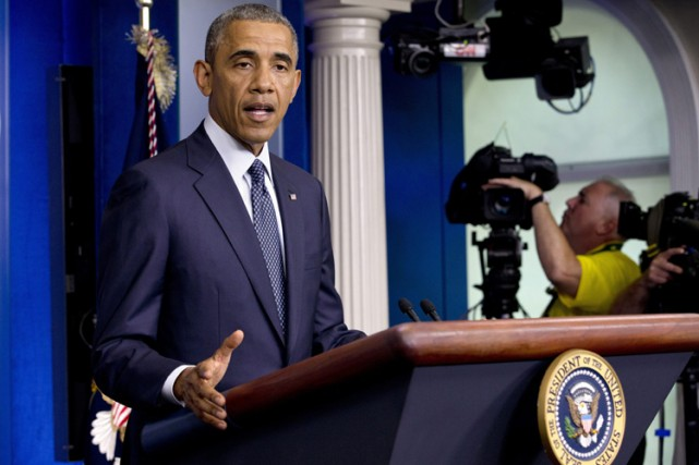 Barack Obama en conférence de presse mercredi après-midi... (Photo: AP)