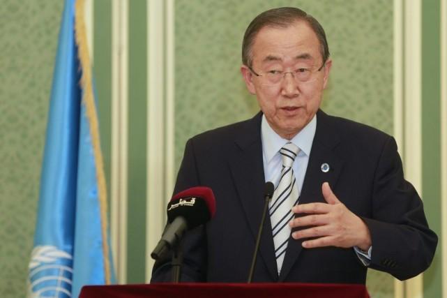Ban Ki-Moon en conférence de presse dimanche à... (PHOTO MOHAMMED DABBOUS, REUTERS)