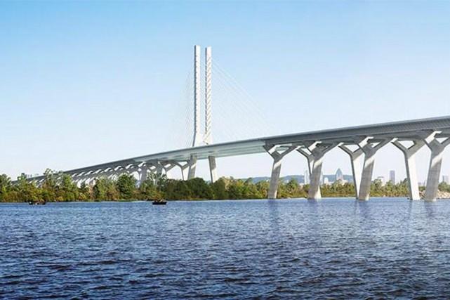 La vision architecturale du nouveau pont Champlain.... (Illustration présentée lors d'une conférence de presse en juin 2014)