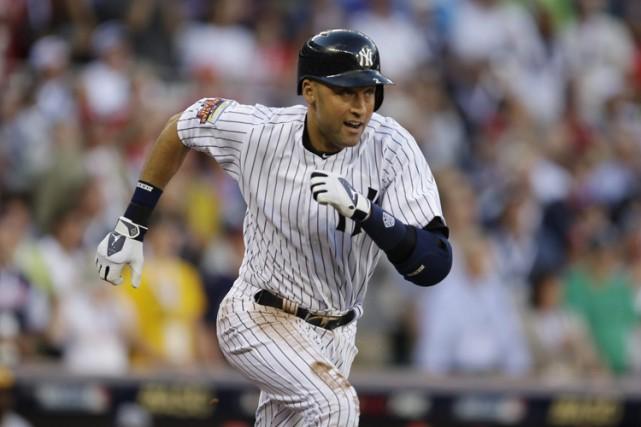 Derek Jetersera honoré par les Yankees lors d'une... (Photo: AP)