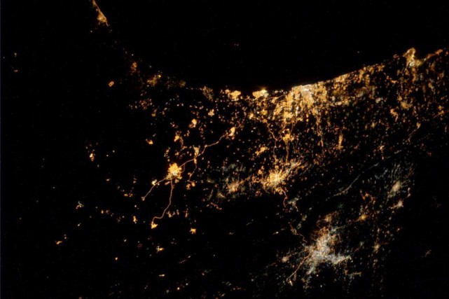Gaza vue de la Station spatiale internationale.... (PHOTO ALEXANDER GERST)