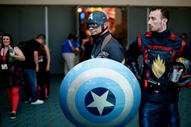Captain America est au Comic Con de San... (Photo Sandy Huffaker, Reuters)
