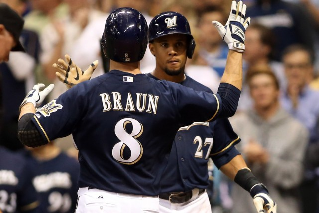 Ryan Braun et Carlos Gomez des Brewers de... (Photo Jerry Lai, USA TODAY Sports)