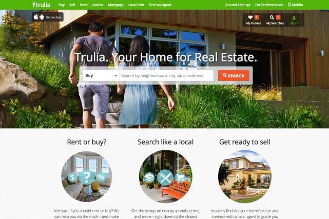 La page d'accuiel du site Trulia.com....