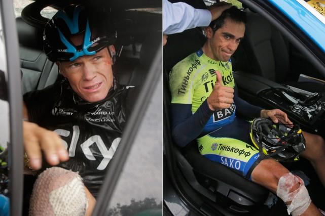 Les abandons de Chris Froome et Alberto Contador... (Photos AP)