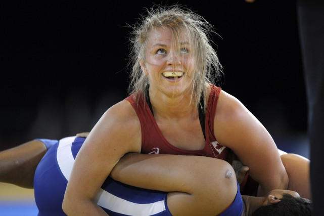 La lutteuse canadienne Erica Wiebe a remporté la... (Photo Andy Buchanan, AFP)