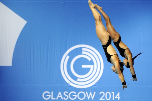 Meaghan Benfeito et Roseline Filion ont totalisé 310,65... (Photo Andy Buchanan, AFP)
