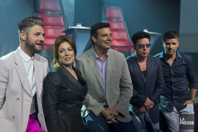 L'équipe de La voix: Pierre Lapointe, Isabelle Boulay,... (Photo: Olivier Jean, La Presse)