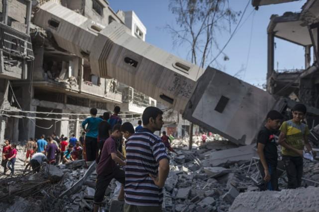 Une mosquée a été détruite mercredi à Gaza.... (Photo: The New York Times)