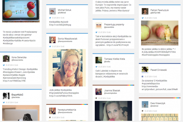 Sur Twitter, avec le mot-dièse #jedzjablka (mange les... (Photo SocialBoard)