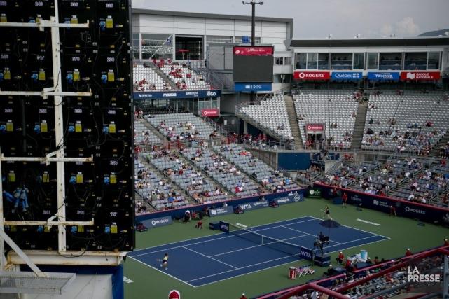 On redoutait la pluie pour cette deuxième journée de la Coupe Rogers de tennis... (Photo: David Boily, La Presse)