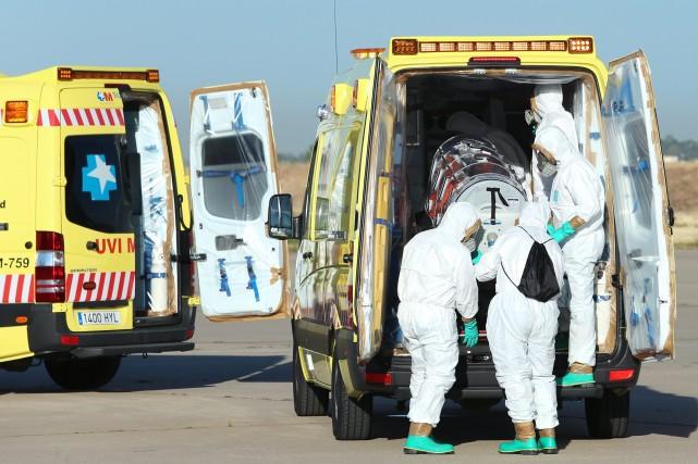 Le premier malade porteur d'Ebola à être rapatrié... (Photo INAKI GOMEZ, AFP)
