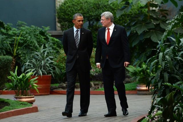 Harper et Obama (ici lors d'une rencontre officielle,... (Photo archives PC)