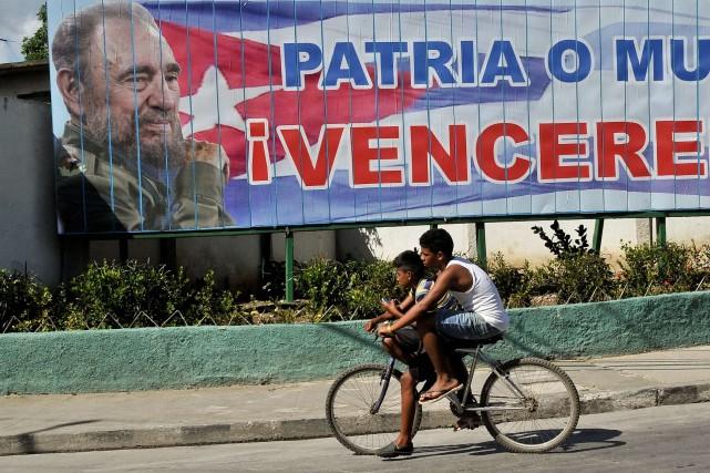 La dernière apparition en public de Fidel Castro... (Photo YAMIL LAGE, AFP)