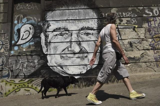 Une murale de Robin Williams à Belgrade.... (Photo: AFP)