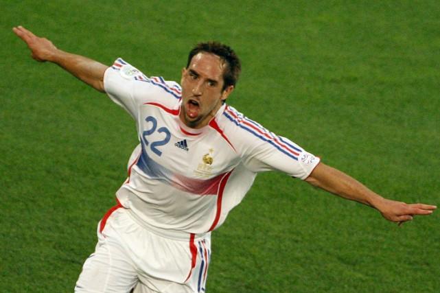 Franck Ribéry célèbre un but inscrit contre l'Espagne... (Archives AFP)