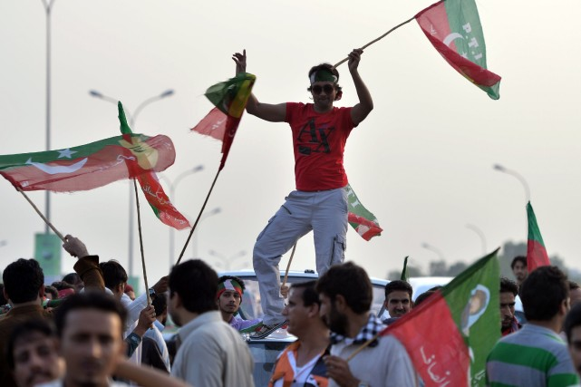 Le parti de la Justice (PTI) d'Imran Khan,... (Photo AAMIR QURESHI, AFP)