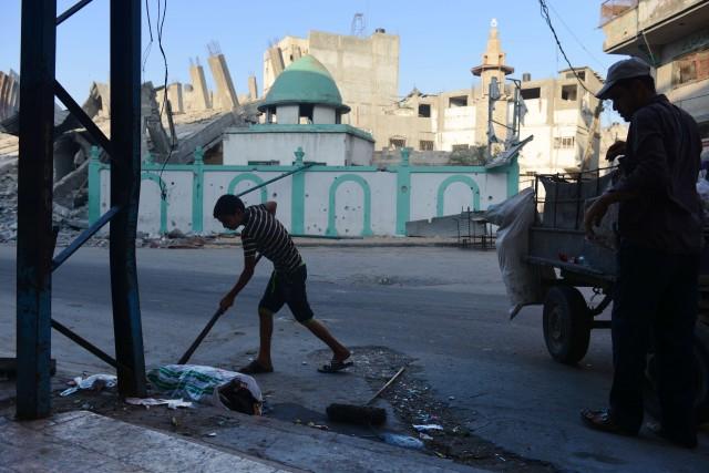 La mosquée Omari était l'un des derniers bâtiments... (Photo ROBERTO SCHMIDT, AFP)