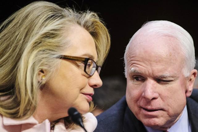 Selon plusieurs observateurs politiques, Hillary Clinton sonne de... (PHOTOMONTAGE PETE MAROVICH, ZUMA/MOTHERJONES)