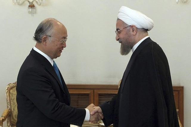 Le directeur général de l'AIEA,Yukiya Amano,a rencontré le... (PHOTO MOHAMMAD BERNO, AFP)