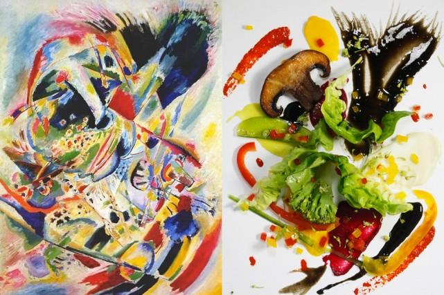 Toile de Kandinsky et la version de l'assiette... (Photo fournie par Charles Spencer)