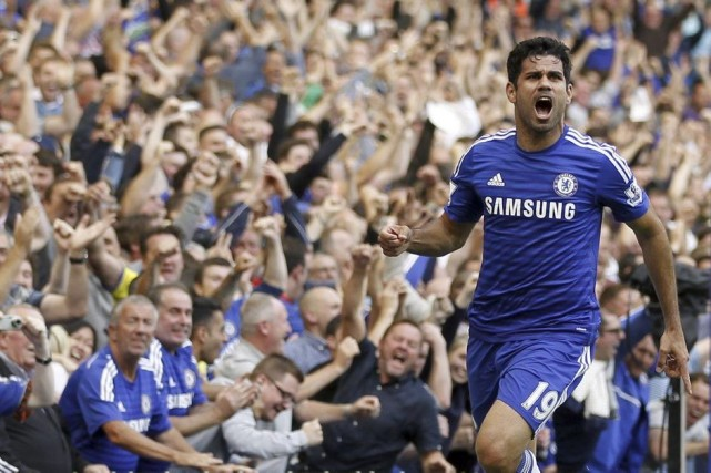 Diego Costa a marqué son deuxième but en... (PHOTO IAN KINGTON, AFP)