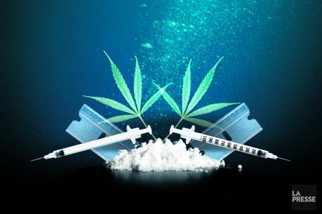 Dans les profondeurs du Net, une zone qu'on appelle le web sombre, la drogue se... (Photomontage La Presse)