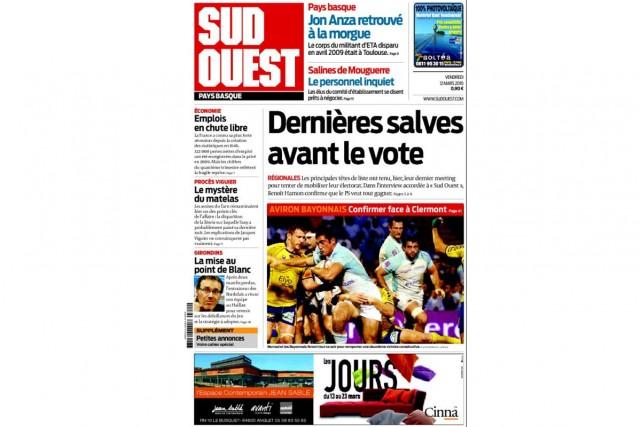 Le quotidien Sud Ouest lancera à partir du 1er septembre, à...