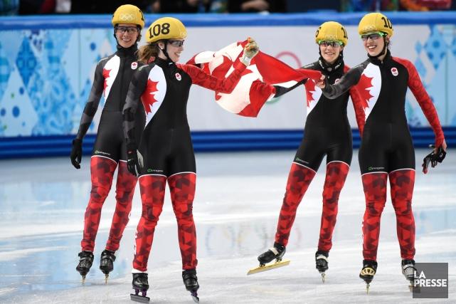 L'équipe canadienne féminine lors de la finale de... (Photo Bernard Brault, archives La Presse)