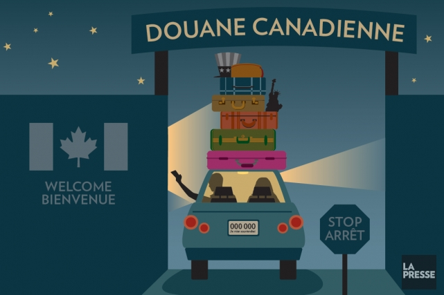 Ils sont des milliers à traverser la frontière. Les Québécois, peu importe la... (Illustration Jean-Marc Charron-Aubin, La Presse)
