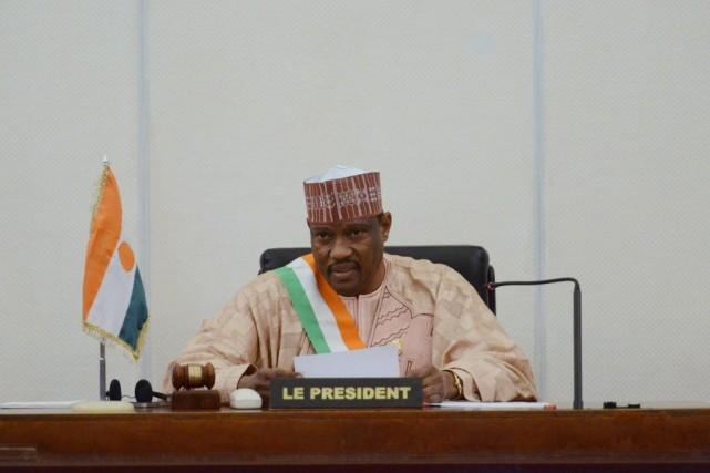 Hama Amadou, important allié du régime pour l'élection... (Photo ISSOUF SANOGO, Archives AFP)